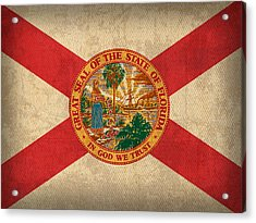 Florida State Flag Art On Worn Canvas Acrylic Print by Design Turnpike