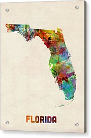 Florida Watercolor Map Acrylic Print by Michael Tompsett