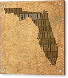 Florida Word Art State Map On Canvas Acrylic Print by Design Turnpike