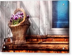 Flower - Pansy - Basket Of Flowers Acrylic Print by Mike Savad