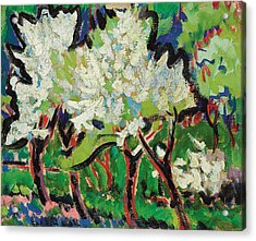 Flowering Trees Iv Acrylic Print by Ernst Ludwig Kirchner