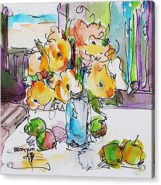 Flowers And Green Apples Acrylic Print by Becky Kim