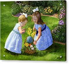 Flowers For Mama With Girls Garden Basket Bouquet Acrylic Print by Alice Leggett