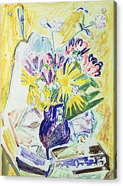 Flowers In A Vase Acrylic Print by Ernst Ludwig Kirchner