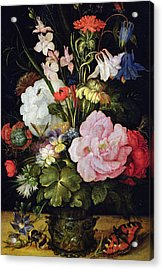 Flowers In A Vase Acrylic Print by Roelandt Jacobsz Savery