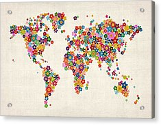 Flowers Map Of The World Map Acrylic Print by Michael Tompsett