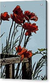 Flowers On The Deck Corner Acrylic Print by David Kehrli