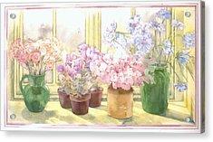 Flowers On The Windowsill Acrylic Print by Julia Rowntree