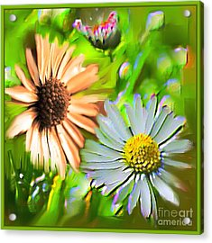 Flowers Orange And Blue Acrylic Print by Nedunseralathan R