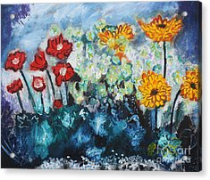 Flowers Through The Storm Acrylic Print by Michael Kulick