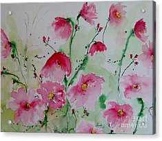 Flowers - Watercolor Painting Acrylic Print by Ismeta Gruenwald