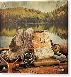 Fly Fishing Equipment  With Vintage Look Acrylic Print by Sandra Cunningham