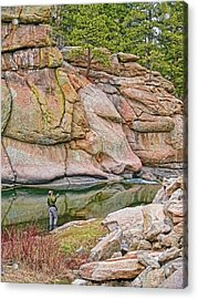 Fly Fishing Platte River Colorado Acrylic Print by Jennie Marie Schell