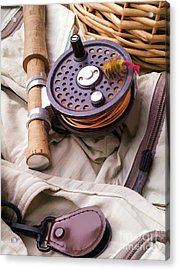 Fly Fishing Still Life Acrylic Print by Edward Fielding