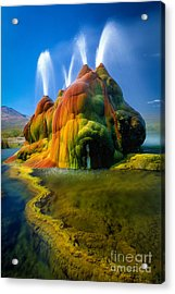 Fly Geyser Travertine Acrylic Print by Inge Johnsson