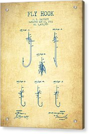 Fly Hook Patent From 1923 - Vintage Paper Acrylic Print by Aged Pixel