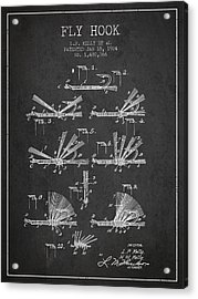 Fly Hook Patent From 1924 - Charcoal Acrylic Print by Aged Pixel