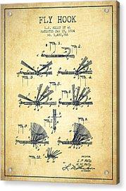 Fly Hook Patent From 1924 - Vintage Acrylic Print by Aged Pixel