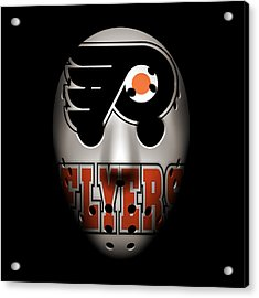 Flyers Goalie Mask Acrylic Print by Joe Hamilton