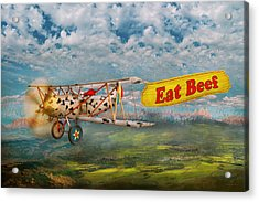 Flying Pigs - Plane - Eat Beef Acrylic Print by Mike Savad
