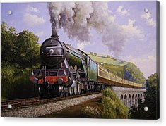 Flying Scotsman On Broadsands Viaduct. Acrylic Print by Mike  Jeffries