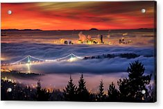 Fog Inversion Over Vancouver Acrylic Print by Alexis Birkill