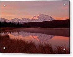 Fog Rising Off Wonder Lake At Dawn Acrylic Print by Gary Schultz