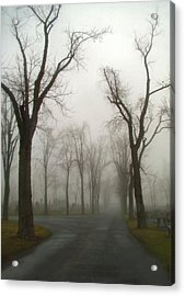 Foggy Cemetery Road Acrylic Print by Gothicolors Donna Snyder