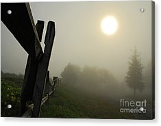 Foggy Country Road Acrylic Print by Lois Bryan