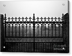 Foggy Grave Yard Gates Acrylic Print by Terri Waters