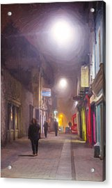 Foggy Night In The Heart Of Galway Acrylic Print by Mark E Tisdale