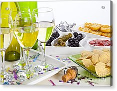 Food And Wine On A Buffet Table Acrylic Print by Colin and Linda McKie