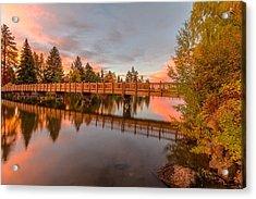 Foot Bridge Over Mirror Pond Acrylic Print by John Williams