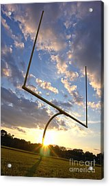 Football Goal At Sunset Acrylic Print by Olivier Le Queinec