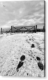 Footprints In The Snow Acrylic Print by John Farnan