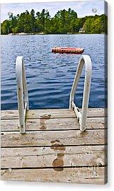 Footprints On Dock At Summer Lake Acrylic Print by Elena Elisseeva