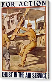 For Action, Enlist In The Air Service Acrylic Print by Otho Cushing