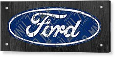 Ford Motor Company Retro Logo License Plate Art Acrylic Print by Design Turnpike