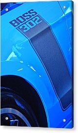 Ford Mustang Boss 302 Emblem Acrylic Print by Jill Reger