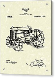 Ford Tractor 1919 Patent Art Acrylic Print by Prior Art Design