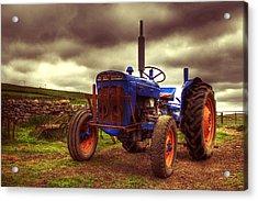 Fordson Super Dexta Tractor On Shetland Croft Acrylic Print by Anne Macdonald