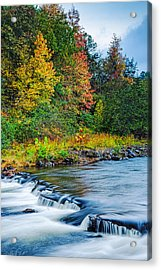 Foretelling Of A Storm Beaver's Bend Broken Bow Fall Foliage Acrylic Print by Silvio Ligutti