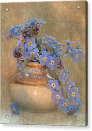 Forget Me Not Bouquet Acrylic Print by Angie Vogel