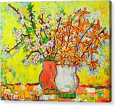 Forsythia And Cherry Blossoms Spring Flowers Acrylic Print by Ana Maria Edulescu