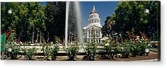 Fountain In A Garden In Front Acrylic Print by Panoramic Images