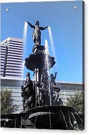 Fountain Of Cincy Acrylic Print by Teresa Banks