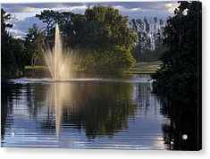 Fountain On Golf Course Acrylic Print by M Cohen