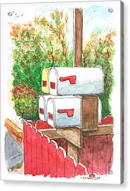 Four Mail Boxes Near A Picket Fence In Laguna Beach - California Acrylic Print by Carlos G Groppa