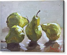 Four Pears Acrylic Print by Ylli Haruni