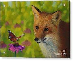 Fox And Butterfly Acrylic Print by Veikko Suikkanen